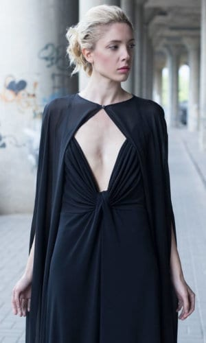 Black Cape Maxi Dress