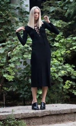 Lace Up Knit Midi Dress