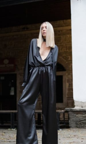 Black Satin Plunging Neckline Jumpsuit