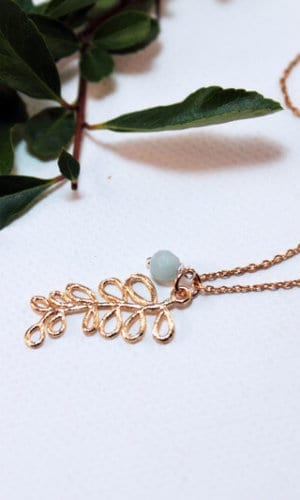 Gold Leaf and Amazonite Necklace