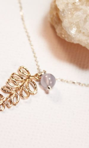 Gold Leaf and Chalcedony Necklace