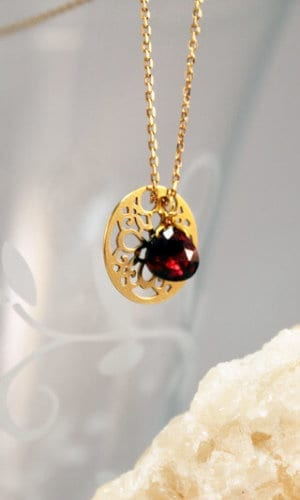 Floral Garnet Necklace