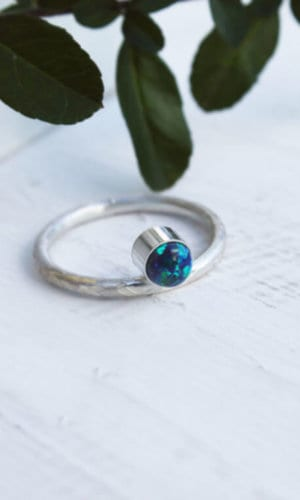 Silver Opal Stone Ring