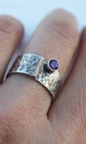 Silver Ring With Gold and Zirconia Details