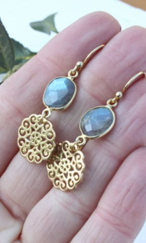 Floral Labradorite Earrings