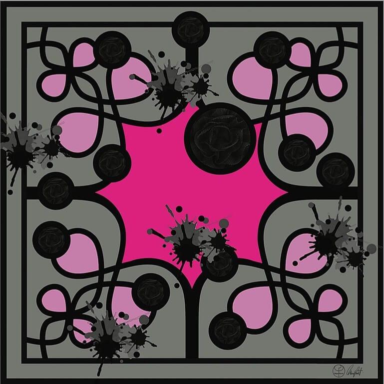Pink Rose Silk Scarf