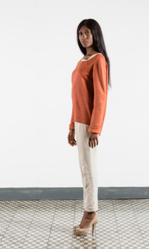 Raw Edge Orange Sweater
