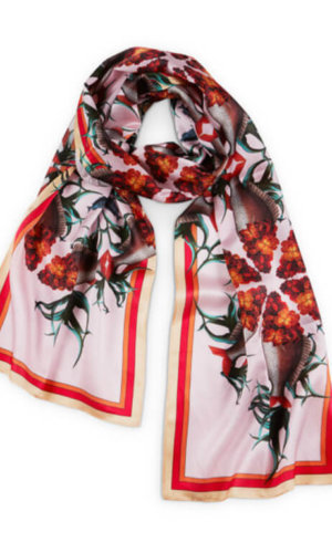 Wallflower Fish Long Silk Scarf