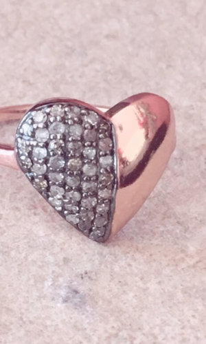 Rose Gold Half and Half Heart Ring