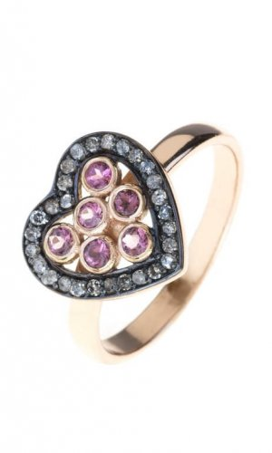 Pink Crystal Heart Ring