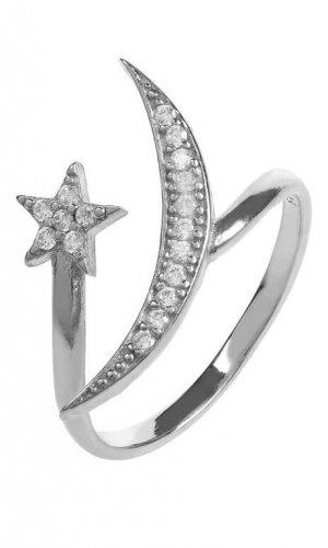 Moon and Star Crystal Ring