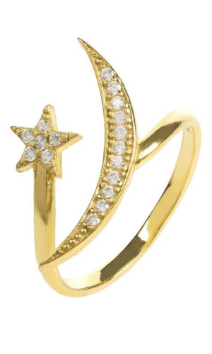 Moon and Star Crystal Ring