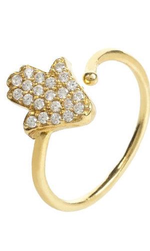 Crystal Hamsa Midi Ring