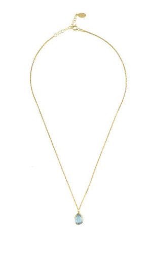 Gold Topaz Teardrop Necklace