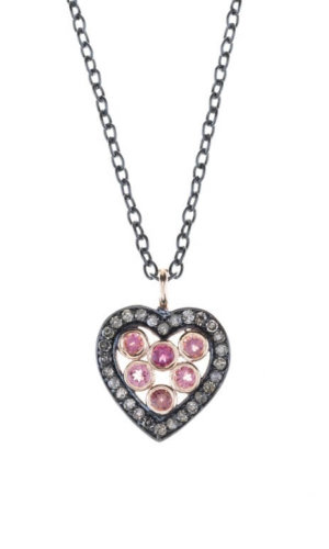 Pink Crystal Heart Necklace