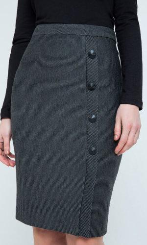 Grey Striped Pencil Skirt