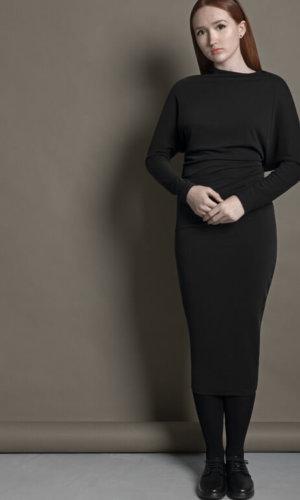 Black Twisted Slim Fit Midi Dress