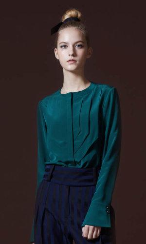 Green Draped Silk Blouse