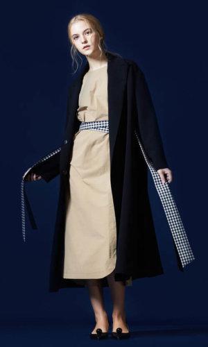Checked Waistbelt Long Coat