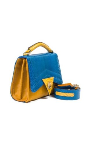 Blue Python Satchel Mini Bag