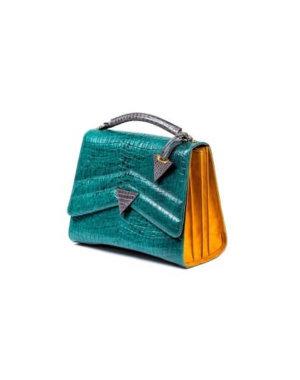 Emerald Green Crocodile Print Bag