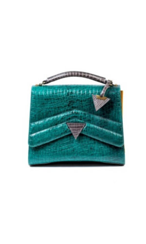 Emerald Green Crocodile Print Bag