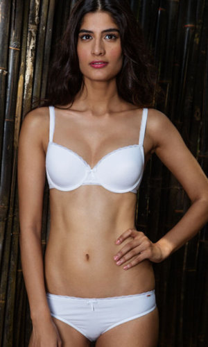 Cotton T-shirt Bra in White