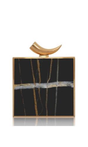 Ahna Black Marble Clutch Bag