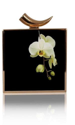 Ahna White Orchid Clutch Bag