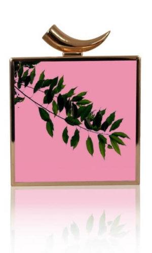 Ahna Pink Leaf Branch Clutch Bag