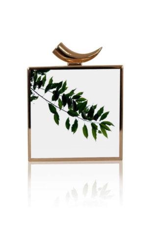 Ahna White Leaf Branch Clutch Bag