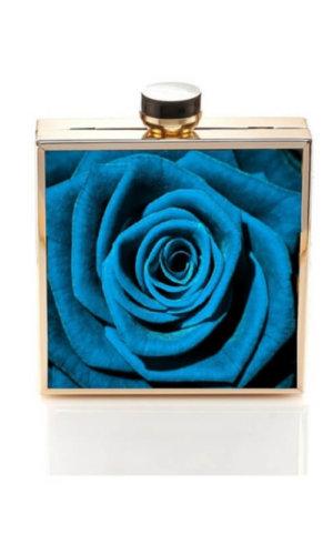 Rosette Blue Clutch Bag