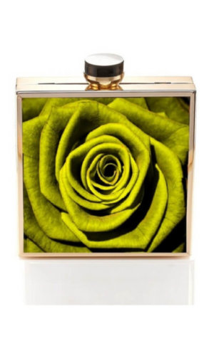 Rosette Green Clutch Bag