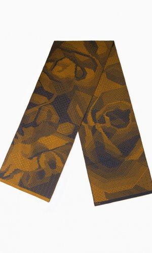 Mustard & Blue Pixelated Roses Scarf