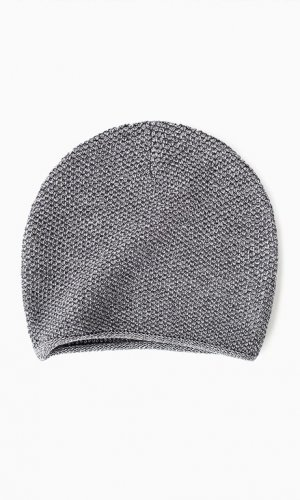 Grey Mouline Knit Beanie Hat