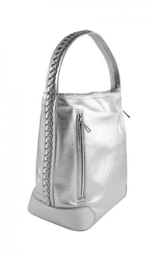 Metallic Silver Disco Hobo Bag