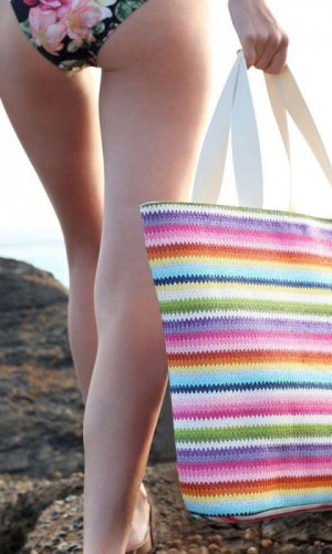 Surfers Paradise Striped Beach Bag