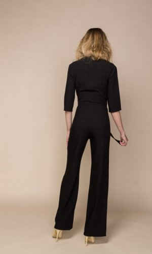 Helena Black Plunging Neckline Jumpsuit
