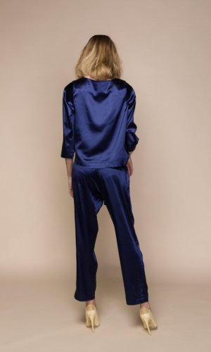 Acurrator Navy Blue Satin Co-Ord Set