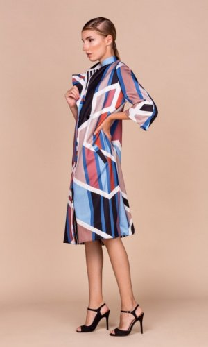 Geometric Print Trench Coat