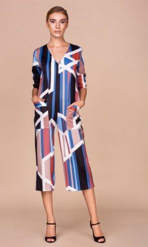 Geometric Print Culottes Jumpsuit