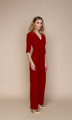 Plunging Neckline Deep Red Jumpsuit
