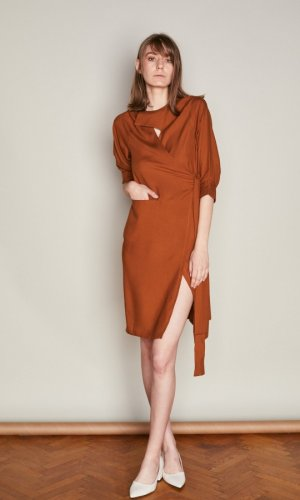 Rust Asymmetric Wrap Dress