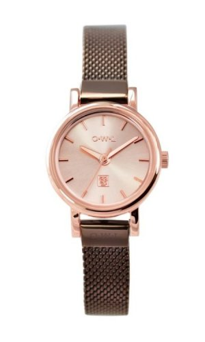 Ashbourne Rose Gold and Chocolate Brown Mesh Strap Watch