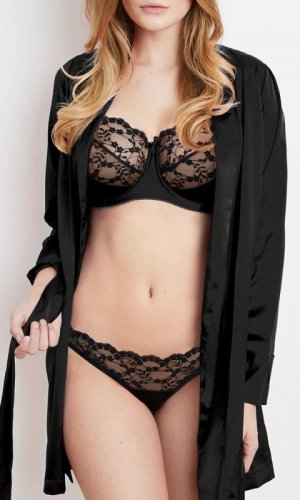 Sohpia Black Lace Silk Robe