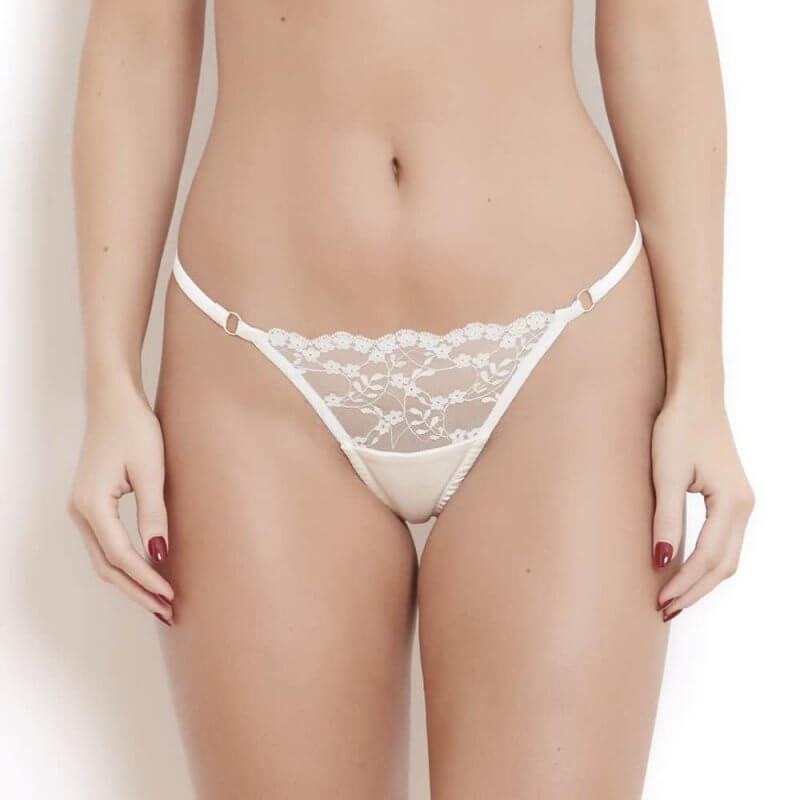 White Lace Thong