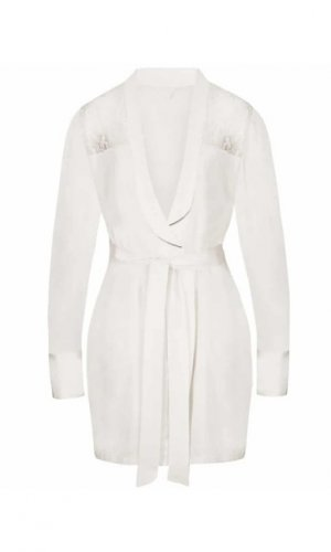 Sohpia White Lace Silk Robe - Made To Order