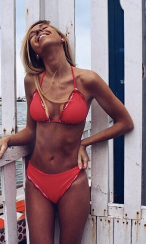 Ruby Red Triangle Bikini Set