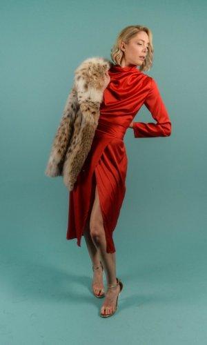 Silk Turtleneck Dress