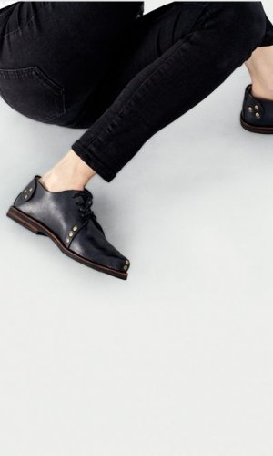 Black Studded Derby Shoe